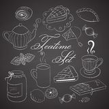 Handdrawn teatime set on black chalkboard Stock Images