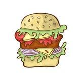 Handdrawn tecknad film för vektor för snabbmathamburgaresymbol stock illustrationer