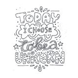 Handdrawn Unicorn Lettering royalty-vrije illustratie