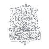 Handdrawn Unicorn Lettering Stock Afbeeldingen