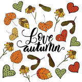 Handdrawn unique autumn card with brush lettering quote. Royalty Free Stock Photos