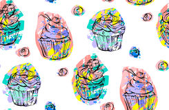 Handdrawn vector abstract naadloos artistiek abstract creatief kleurrijk die cupcakes en bessenpatroon op wit wordt geïsoleerd Stock Foto's