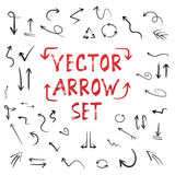 Handdrawn Vector Handmade Arrow Set Isolated on White Background Royalty Free Stock Photo