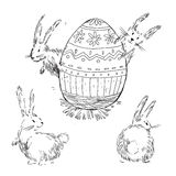 Handdrawn vector happy easter set with big decorated egg and cut Stock Photography