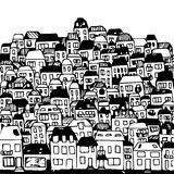 Handdrawn vector illustration: real estate. Vector illustration: city houses and buildings, real estate Royalty Free Stock Photo