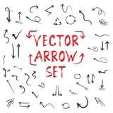 Handdrawn Vector Met de hand gemaakte die Pijlreeks op Witte Achtergrond wordt geïsoleerd Royalty-vrije Stock Foto