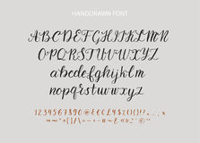 Handdrawn Vector Script font.  Brush style textured calligraphy cursive typeface. Royalty Free Stock Photo