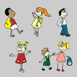 Handdrawn vector set for your design: schoolchildr. Vector set with schoolchildren: boys and girls go to school Stock Images