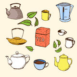 Handdrawn vector set for your design: tea. Vector illustration with cups, mugs, tea leaves, kettles and tea box Stock Image