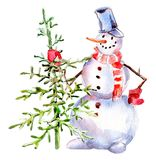 Handdrawn vintage Snowman with firtree, watercolor Christmas illustration isolated on white. Handdrawn vintage Snowman with firtree, watercolor Christmas Stock Photo