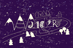 Handdrawn wander. With doodle elements - mountain and trees Royalty Free Stock Photo