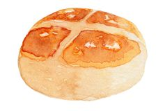 Brioche Bread Watercolor Illustration royalty free stock image