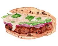 Chicken Tandoori Watercolor Illustration royalty free stock photo