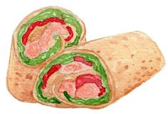 Chicken Wrap Watercolor Illustration stock photo