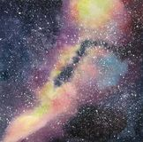 Handdrawn watercolor galaxy, stars in the night space. Beautiful Milky Way. vector illustration