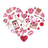 Handdrawn watercolor heart. set of elements isolated on white background. Beautiful heart-shaped elements: love poison vector illustration