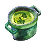 Handdrawn watercolor illustration isolated on white background. Beautiful green soup. Vegeterian healthy food. Botanical royalty free illustration