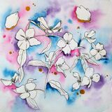 Handdrawn watercolor and ink pattern. Beautiful fantasy flowers on abstract background