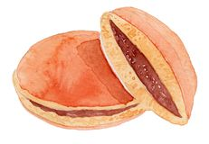 Japanese Dorayaki Watercolor Illustration royalty free stock photos