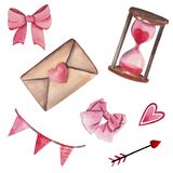 Handdrawn watercolor set of elements isolated on white background. Beautiful pink elements for St. Valentine`s day royalty free illustration