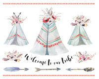 Handdrawn watercolor tribal teepee, isolated boho tent. stock illustration