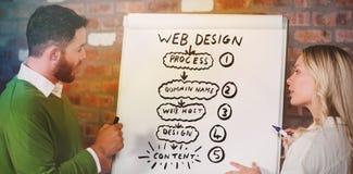 Composite image of handdrawn web design process. Handdrawn web design process against business people preparing presentation Royalty Free Stock Image