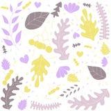 Handdrawn wektorowa ilustracja z liśćmi na białym tle Obraz Royalty Free