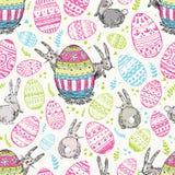 Handdrawn wektorowy szczęśliwy Easter bezszwowy wzór z dużym dekoruje ilustracji