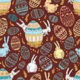 Handdrawn wektorowy szczęśliwy Easter bezszwowy wzór z dużym dekoruje ilustracja wektor