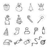 Handdrawn winter set doodle icon. Hand drawn black sketch. Sign vector illustration