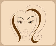 Handdrawn woman face with sensual eyes and brown Royalty Free Stock Photos