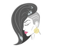 Handdrawn woman face with sensual lips and black. Hair. close-up illustration - paths outlined. Contains EPS10 and high-resolution JPEG Royalty Free Stock Photo