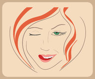 Handdrawn woman face winks with red hair and green Royalty Free Stock Photography