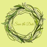 Handdrawn wreath made in vector. Unique decoration for greeting card, wedding invitation, save the date. Stock Images