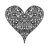 Handdrawn zentangle heart. Mandala style design for St. Valentine day cards. Coloring book pattern. Vector black and. White doodle illustration Royalty Free Stock Images