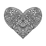 Handdrawn zentangle heart. Mandala style design for St. Valentine day cards. Coloring book pattern. Vector black and Royalty Free Stock Photos