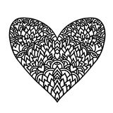 Handdrawn zentangle heart. Mandala style design for St. Valentine day cards. Coloring book pattern. Vector black and. White doodle illustration Royalty Free Illustration