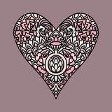 Handdrawn zentangle heart. Mandala style design for St. Valentine day cards. Coloring book pattern. Vector doodle Stock Photography
