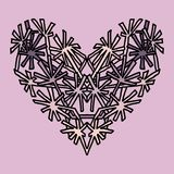 Handdrawn zentangle heart. Mandala style design for St. Valentine day cards. Coloring book pattern. Vector doodle Royalty Free Stock Image
