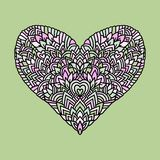 Handdrawn zentangle heart. Mandala style design for St. Valentine day cards. Coloring book pattern. Vector doodle Stock Image