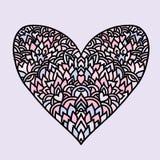 Handdrawn zentangle heart. Mandala style design for St. Valentine day cards. Coloring book pattern. Vector doodle. Illustration Stock Illustration