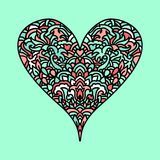Handdrawn zentangle heart. Mandala style design for St. Valentine day cards. Coloring book pattern. Vector doodle. Illustration Royalty Free Stock Images