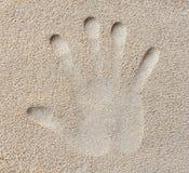 Handdruck im Sand Lizenzfreies Stockbild