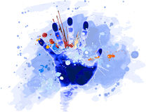 Handdruck u. -Watercolour Stockfoto