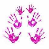 Handdrucke des Vaters, der Mutter und des Kindes. Zusammen Konzept. Stockfotografie