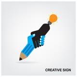 Handdruk abstract teken, creatief teken. Stock Foto