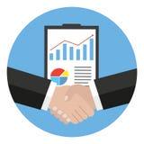 Handdruk, bedrijfsovereenkomst, weddenschap, vennootschapconcepten royalty-vrije illustratie