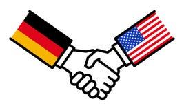 Handdruk Duitsland de V.S., overeenkomst, alliantie, transactie, vriendschap, grafisch concept, royalty-vrije illustratie