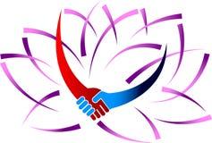 Handdruk met lotusbloem vector illustratie