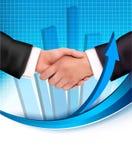 Handdruk tussen bedrijfsmensen met een grafiek Royalty-vrije Stock Afbeelding